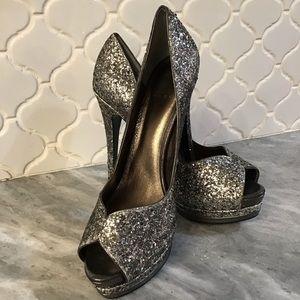 Pelle Moda Silver Glitter Heels